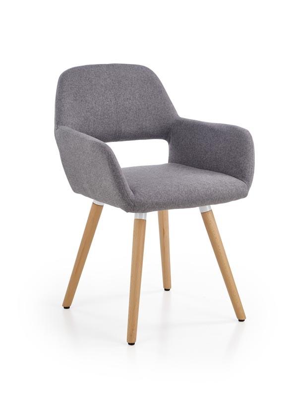 Scaun tapitat cu stofa, cu picioare din lemn K283 Grey, l56xA56xH80 cm