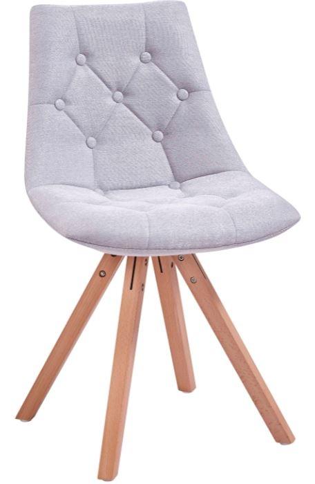 Scaun tapitat cu stofa, cu picioare din lemn King Light Grey / Beech, l49xA55xH83 cm