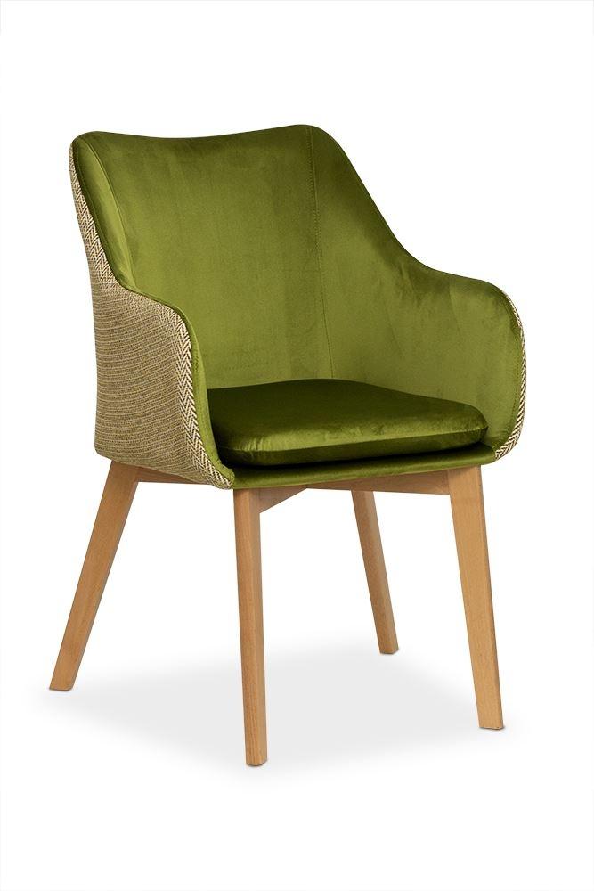 Scaun tapitat cu stofa, cu picioare din lemn Lancelot Olive / Beech, l56xA62xH84 cm