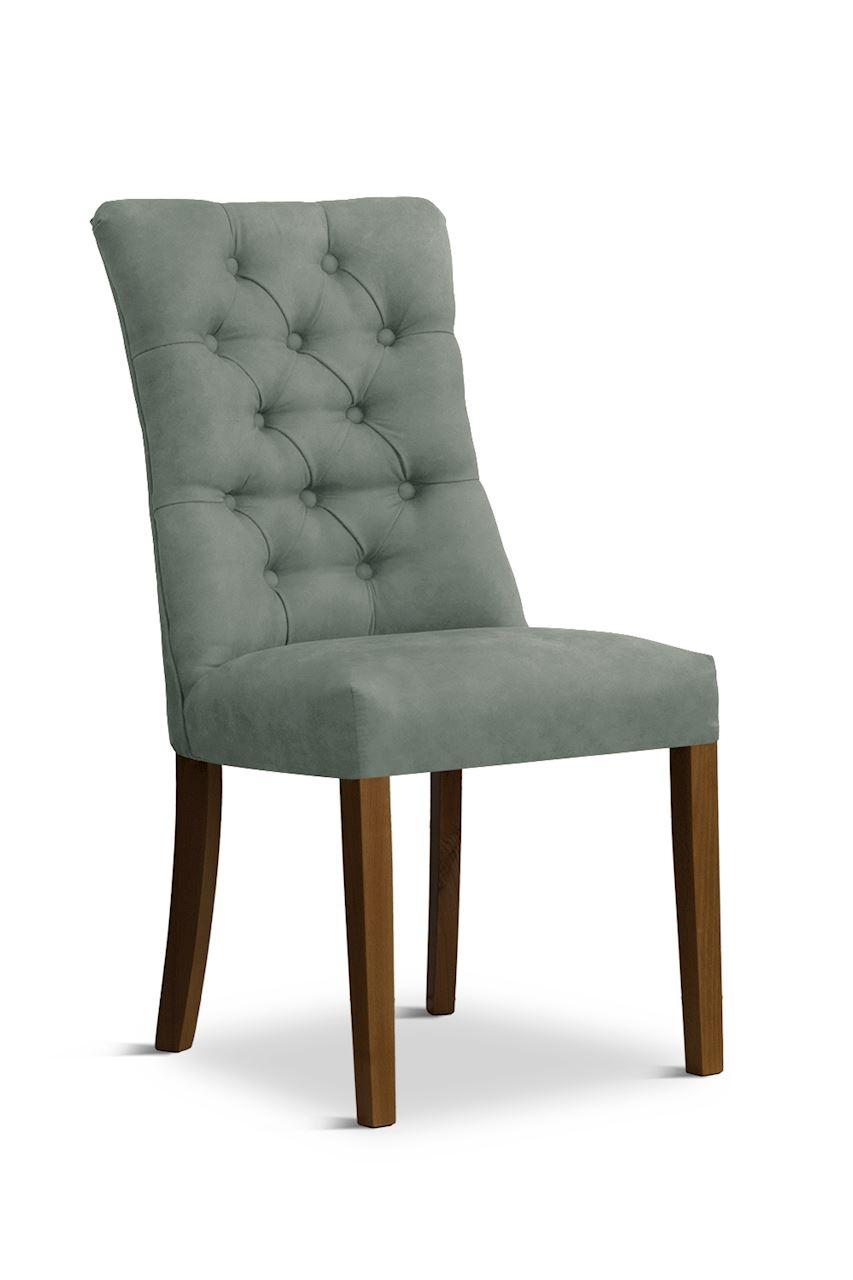 Scaun tapitat cu stofa cu picioare din lemn Lord Grey / Walnut l51xA59xH100 cm