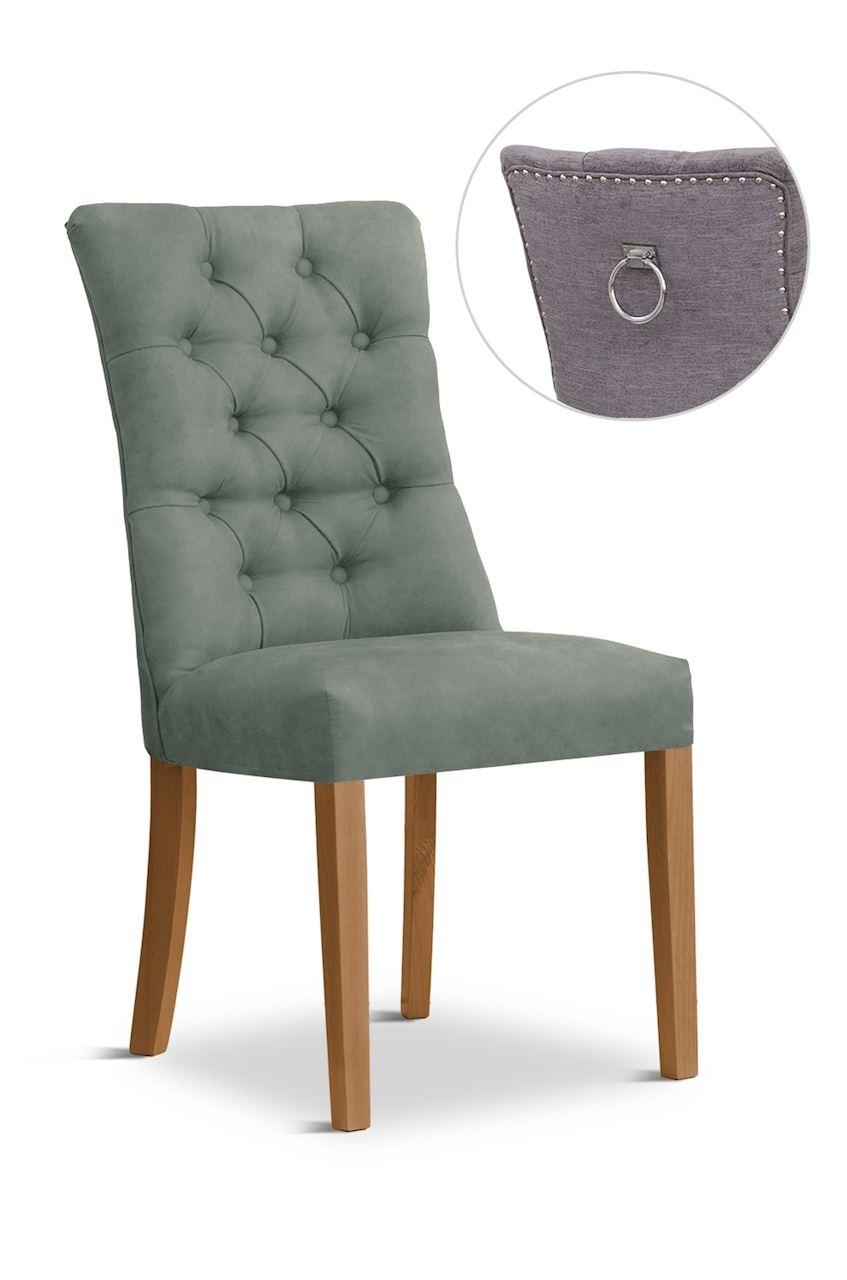 Scaun tapitat cu stofa cu picioare din lemn Lord II Grey / Oak l51xA59xH100 cm