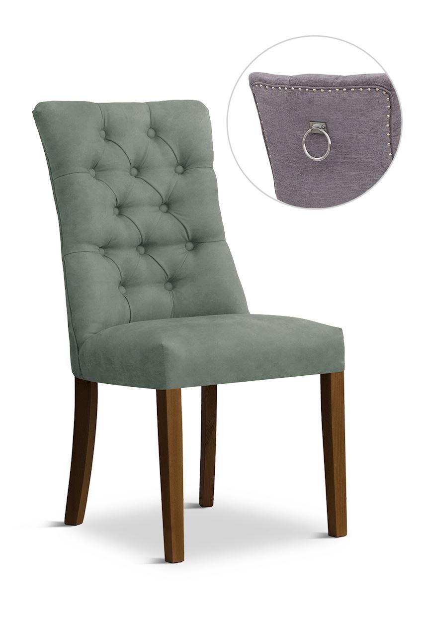 Scaun tapitat cu stofa cu picioare din lemn Lord II Grey / Walnut l51xA59xH100 cm