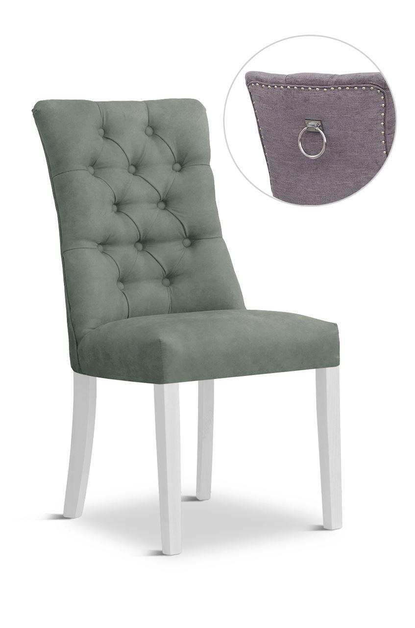 Scaun tapitat cu stofa cu picioare din lemn Lord II Grey / White l51xA59xH100 cm