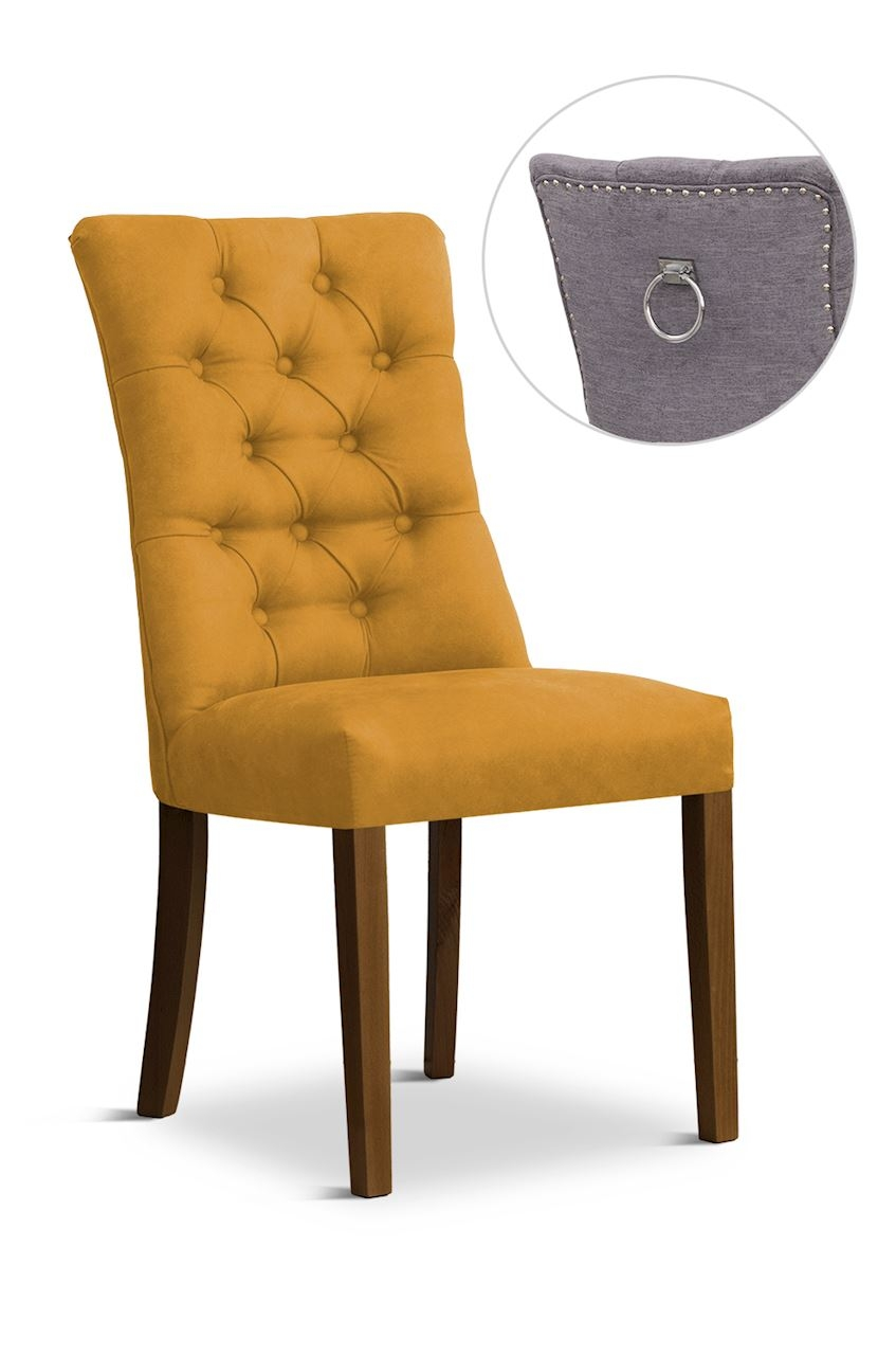Scaun tapitat cu stofa cu picioare din lemn Lord II Honey / Walnut l51xA59xH100 cm