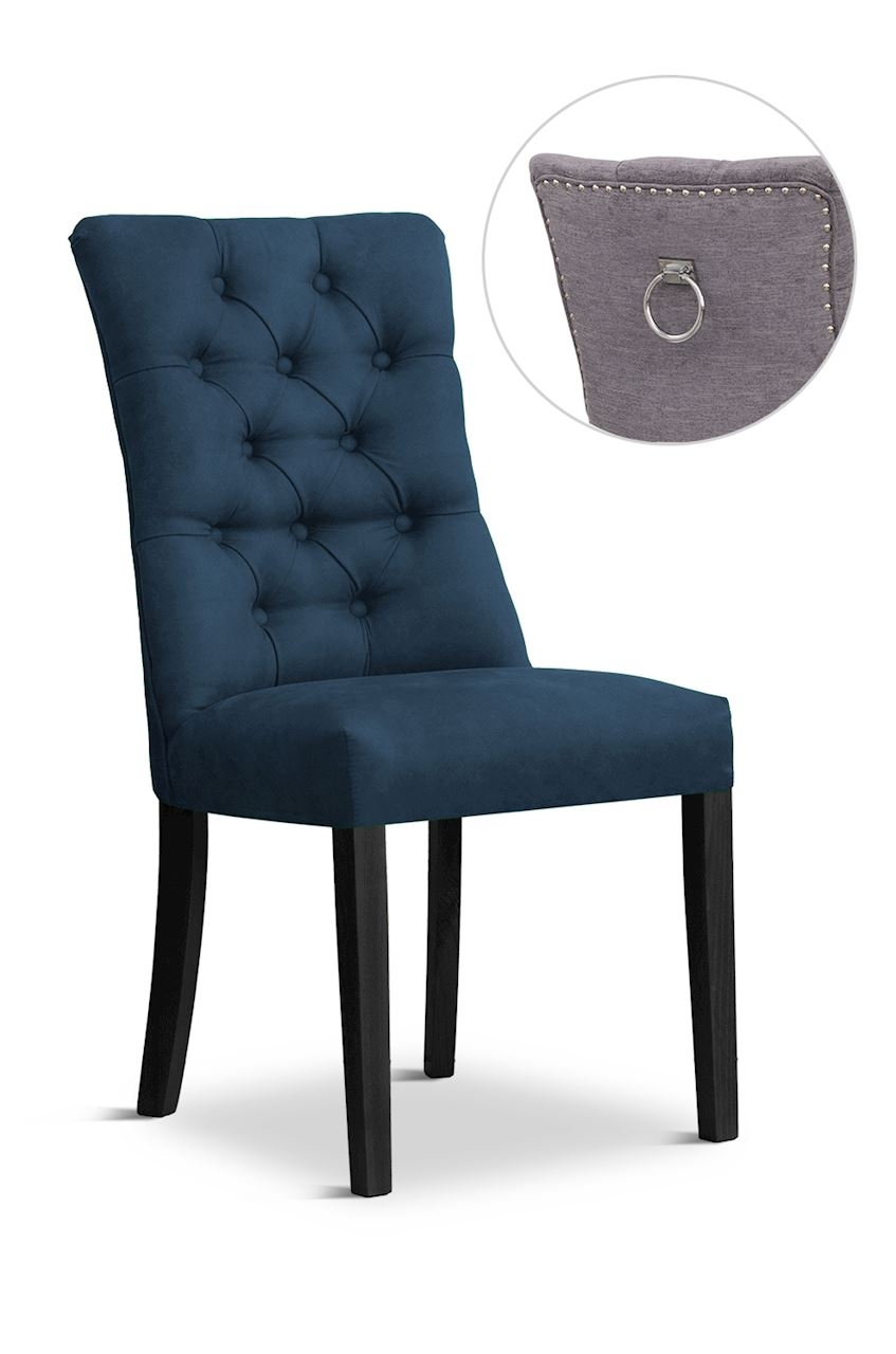 Scaun tapitat cu stofa cu picioare din lemn Lord II Navy Blue / Black l51xA59xH100 cm