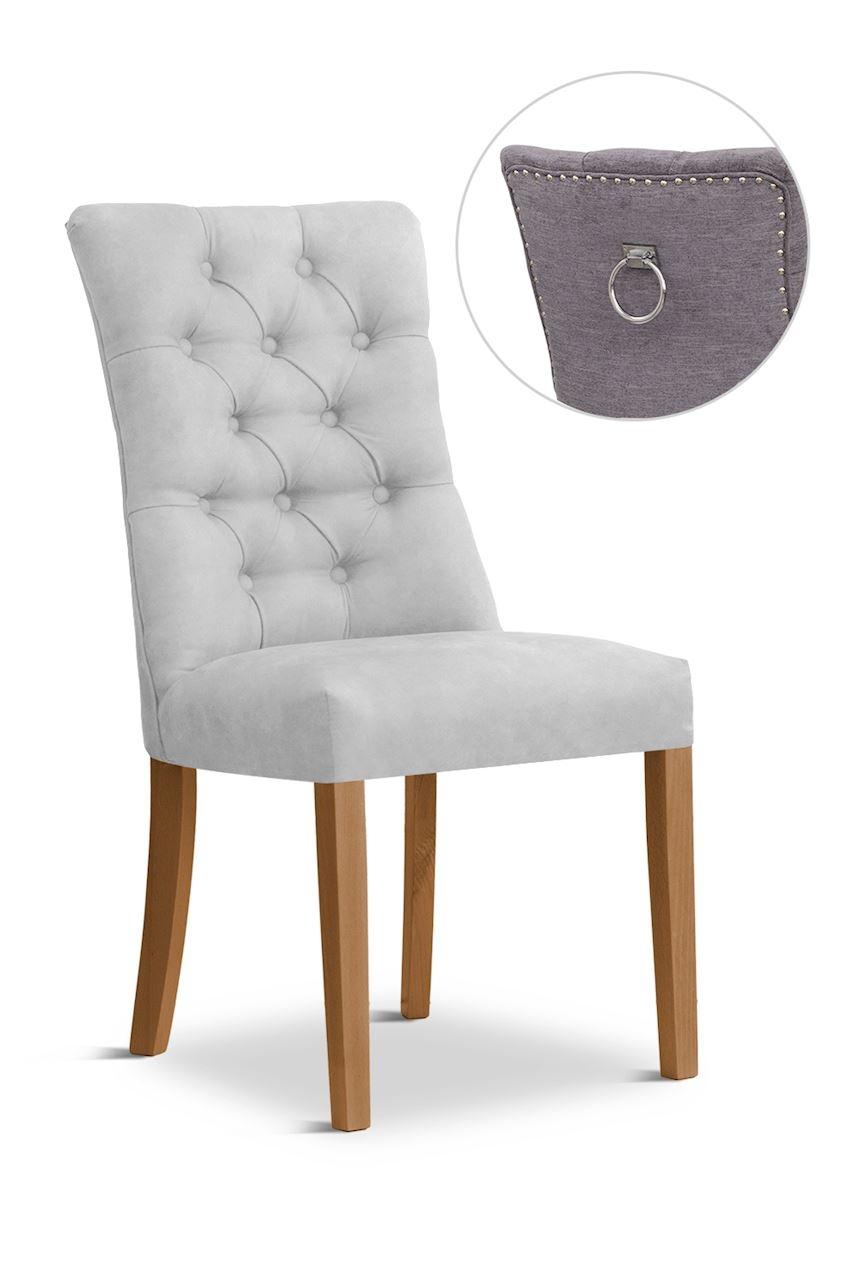 Scaun tapitat cu stofa cu picioare din lemn Lord II Silver / Oak l51xA59xH100 cm