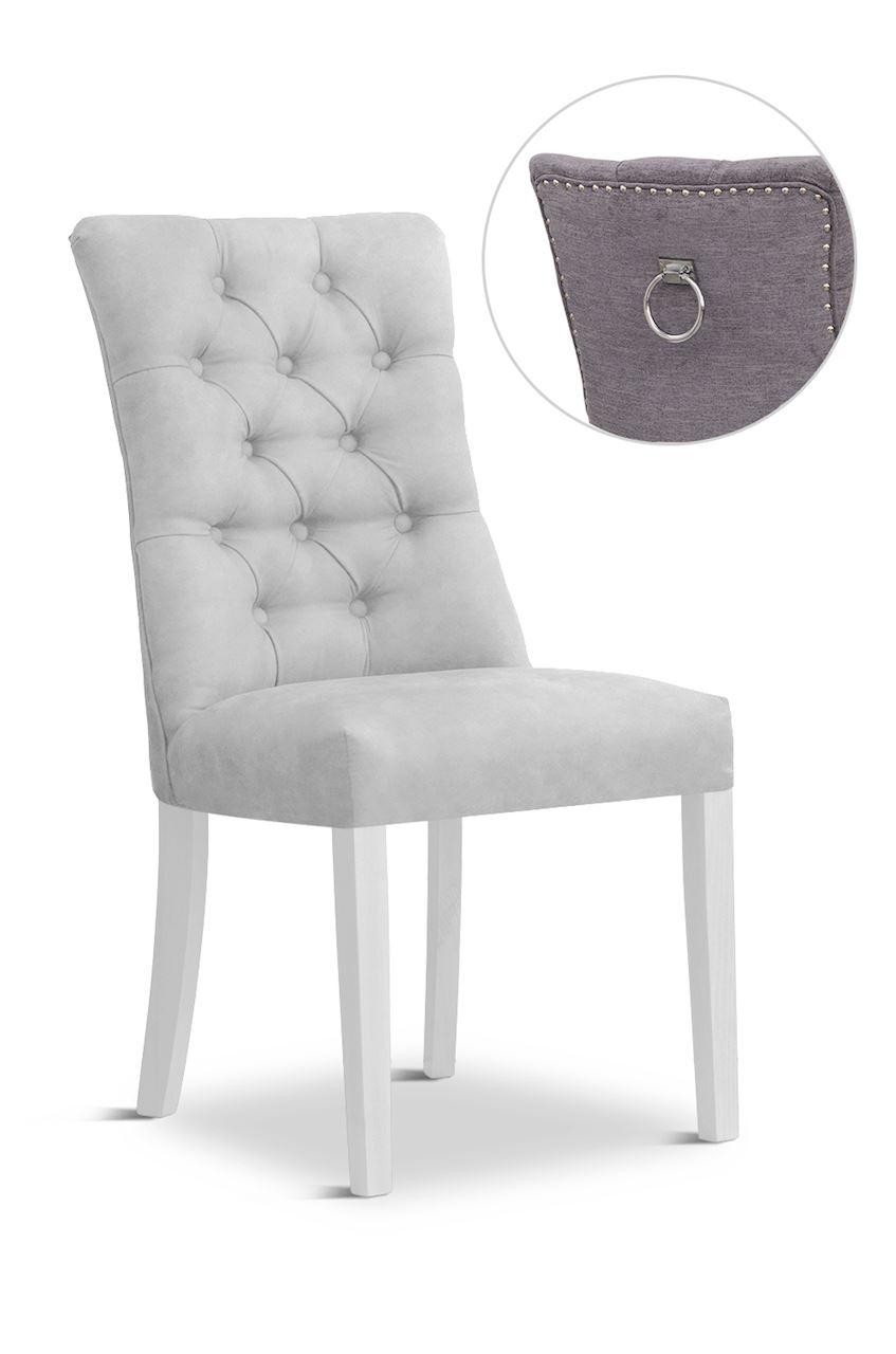 Scaun tapitat cu stofa cu picioare din lemn Lord II Silver / White l51xA59xH100 cm