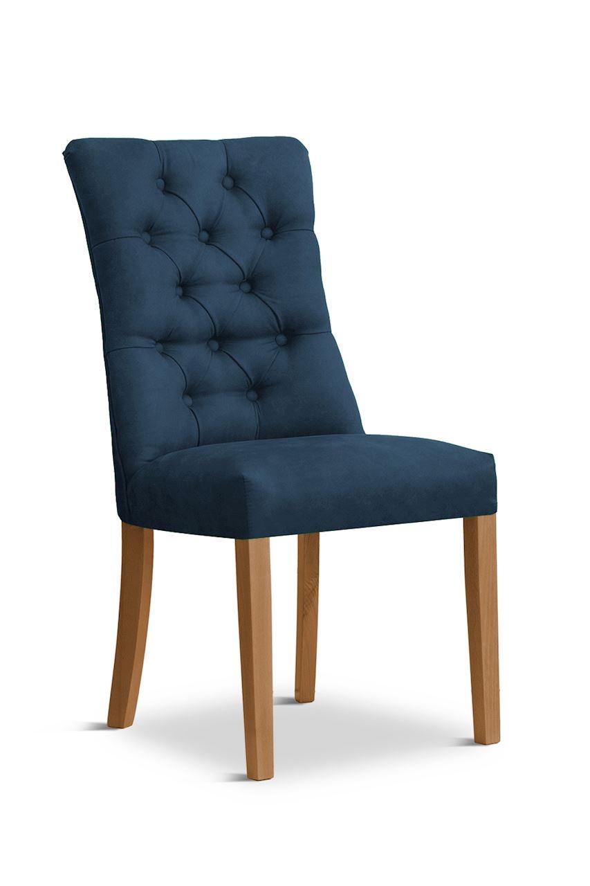 Scaun tapitat cu stofa cu picioare din lemn Lord Navy Blue / Oak l51xA59xH100 cm