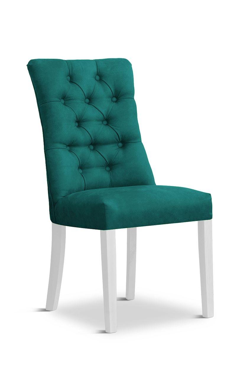 Scaun tapitat cu stofa cu picioare din lemn Lord Turquoise / White l51xA59xH100 cm