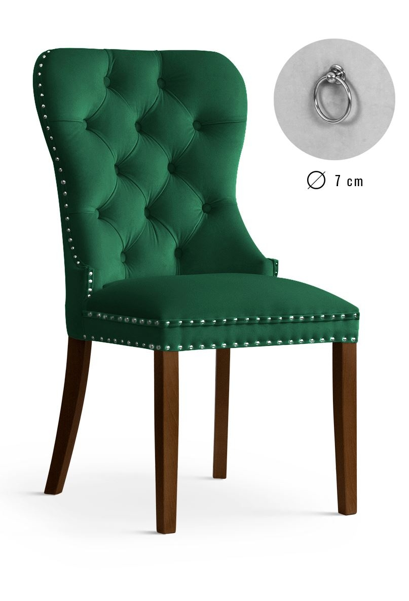 Scaun tapitat cu stofa, cu picioare din lemn Madame Green / Walnut, l51xA63xH99 cm