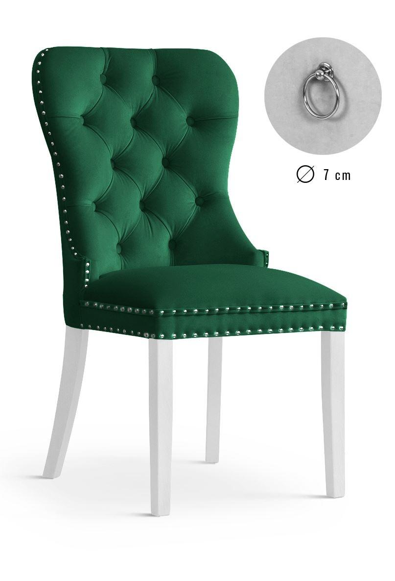 Scaun tapitat cu stofa, cu picioare din lemn Madame Green / White, l51xA63xH99 cm