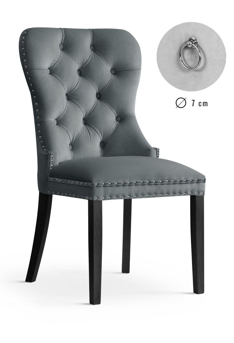Scaun tapitat cu stofa, cu picioare din lemn Madame Grey / Black, l51xA63xH99 cm