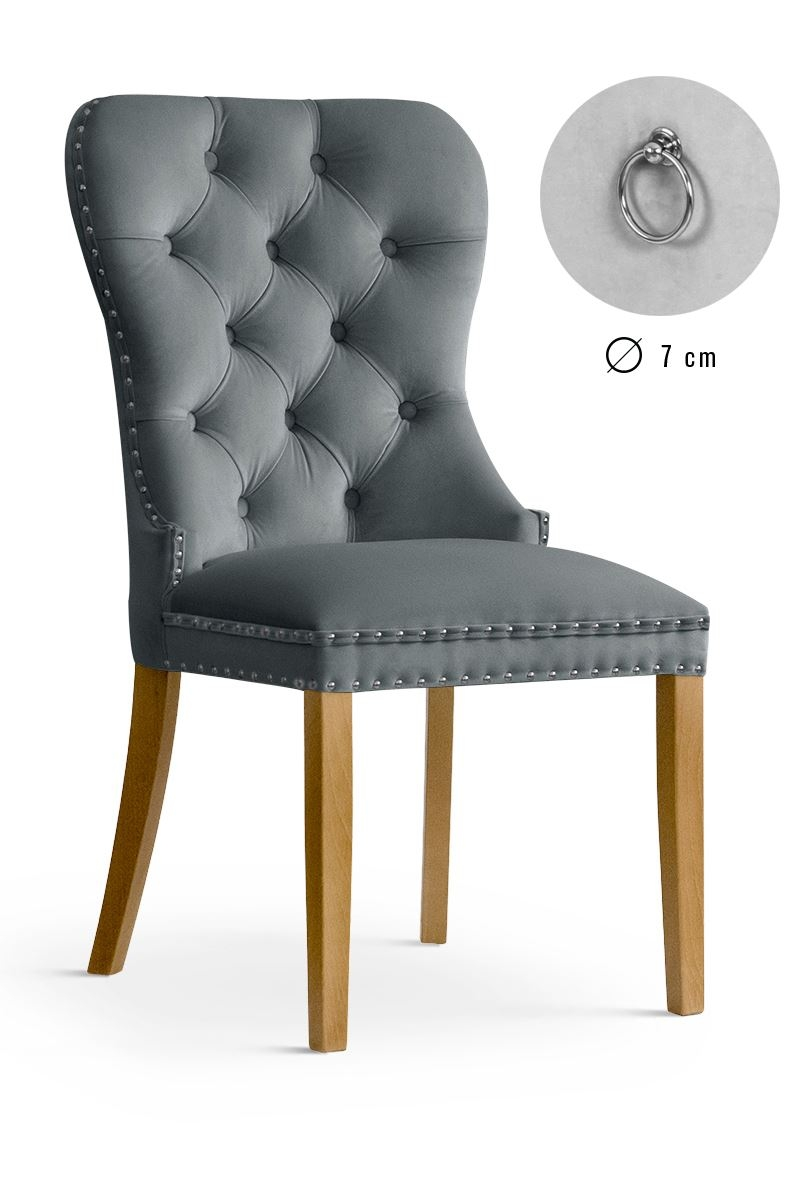 Scaun tapitat cu stofa, cu picioare din lemn Madame Grey / Oak, l51xA63xH99 cm