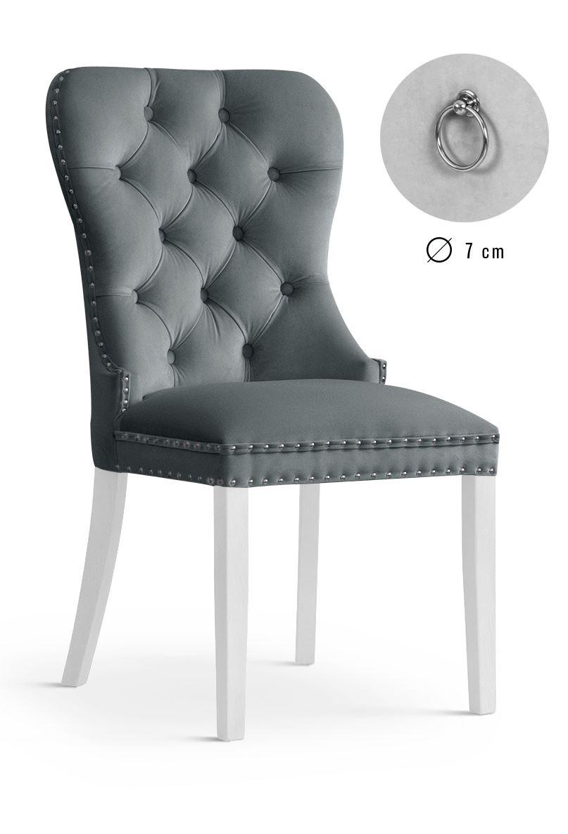 Scaun tapitat cu stofa, cu picioare din lemn Madame Grey / White, l51xA63xH99 cm