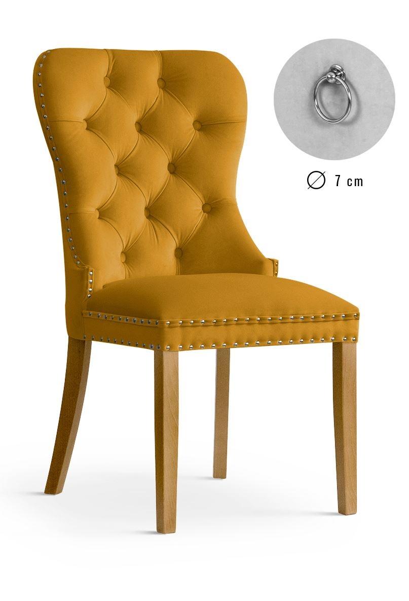 Scaun tapitat cu stofa, cu picioare din lemn Madame Honey / Oak, l51xA63xH99 cm
