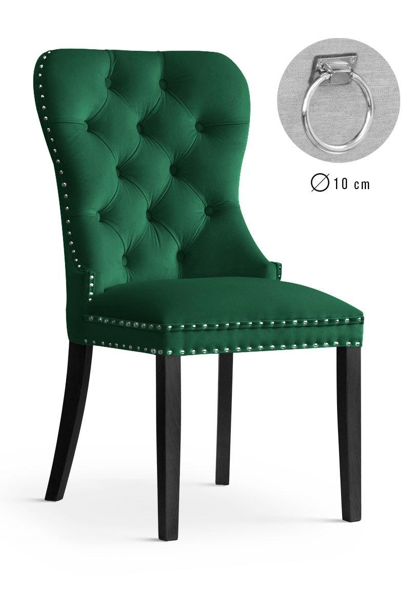 Scaun tapitat cu stofa, cu picioare din lemn Madame II Green / Black, l51xA63xH99 cm