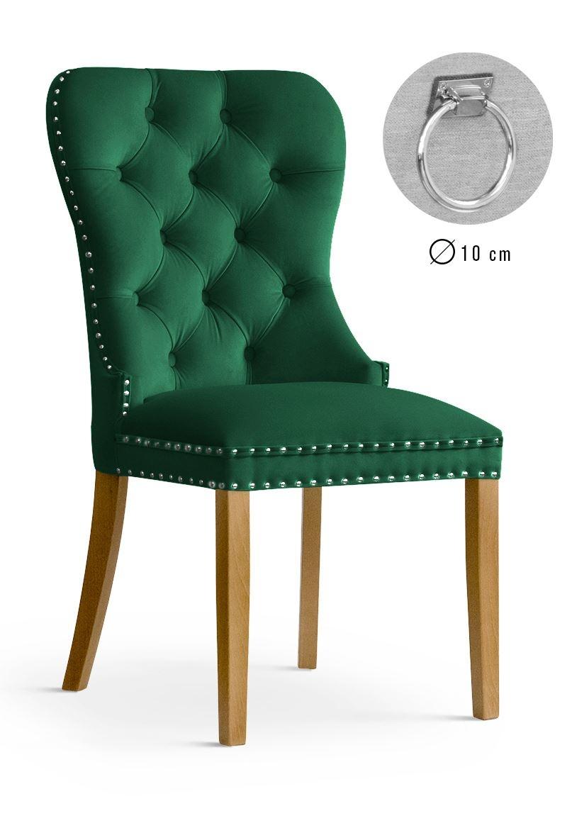 Scaun tapitat cu stofa, cu picioare din lemn Madame II Green / Oak, l51xA63xH99 cm