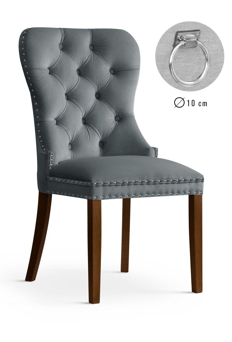 Scaun tapitat cu stofa, cu picioare din lemn Madame II Grey / Walnut, l51xA63xH99 cm