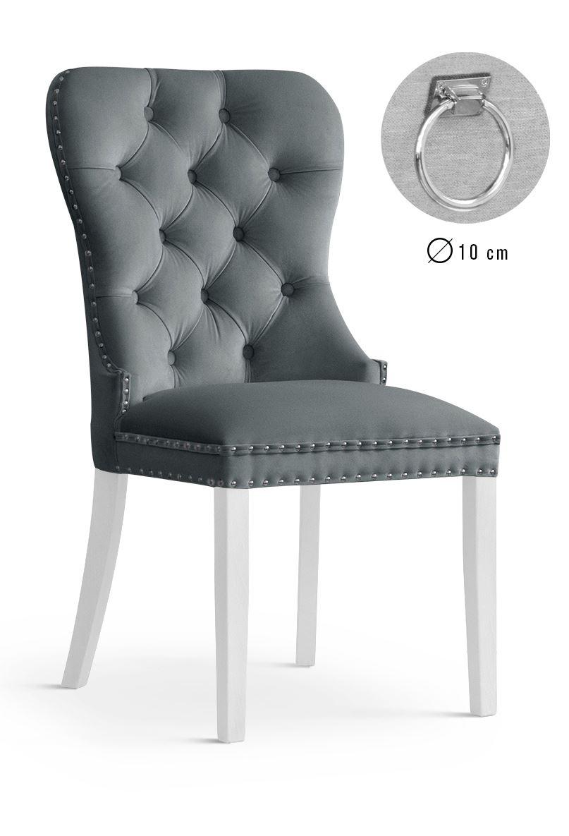 Scaun tapitat cu stofa, cu picioare din lemn Madame II Grey / White, l51xA63xH99 cm