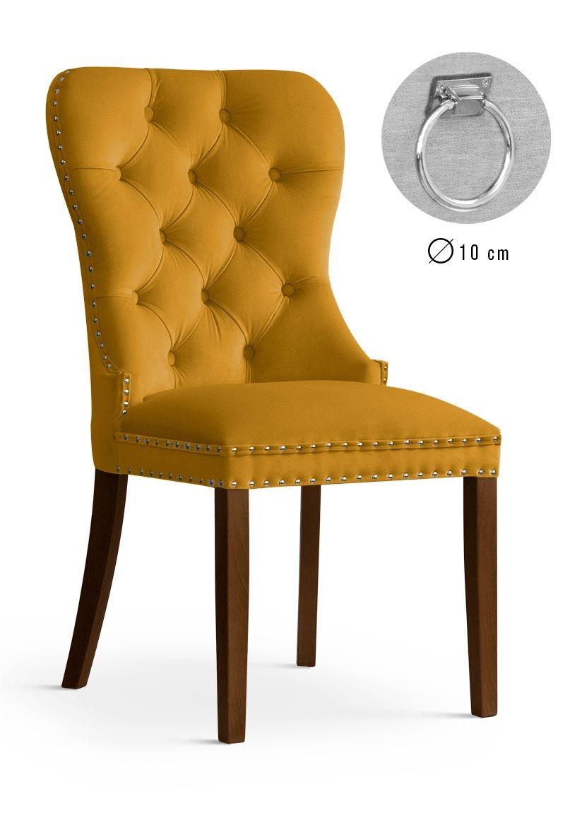 Scaun tapitat cu stofa si picioare din lemn Madame II Velvet Mustariu / Nuc, l51xA63xH99 cm poza