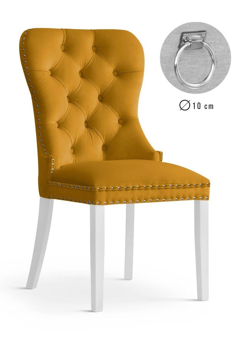 Scaun tapitat cu stofa si picioare din lemn Madame II Velvet Mustariu / Alb, l51xA63xH99 cm imagine