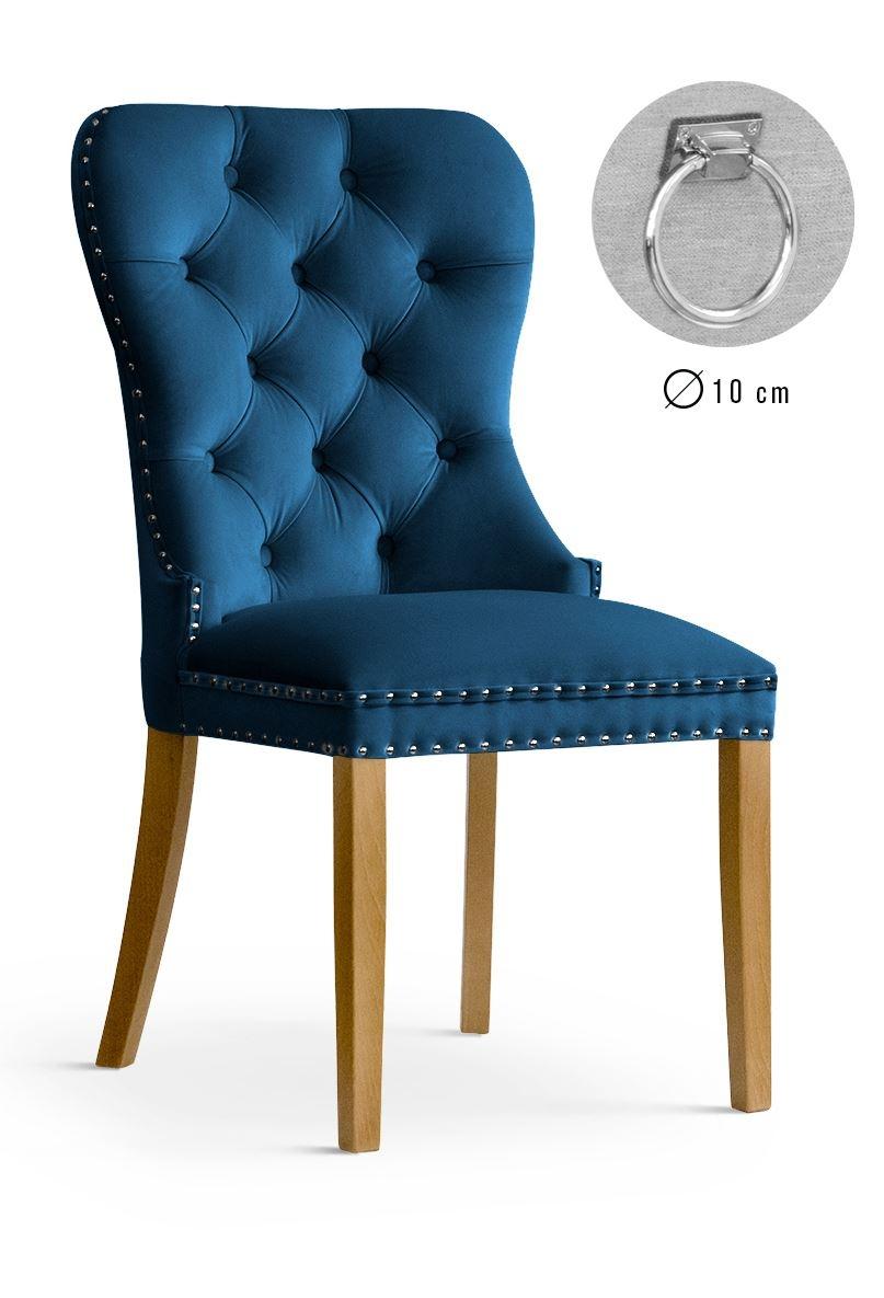 Scaun tapitat cu stofa, cu picioare din lemn Madame II Navy Blue / Oak, l51xA63xH99 cm