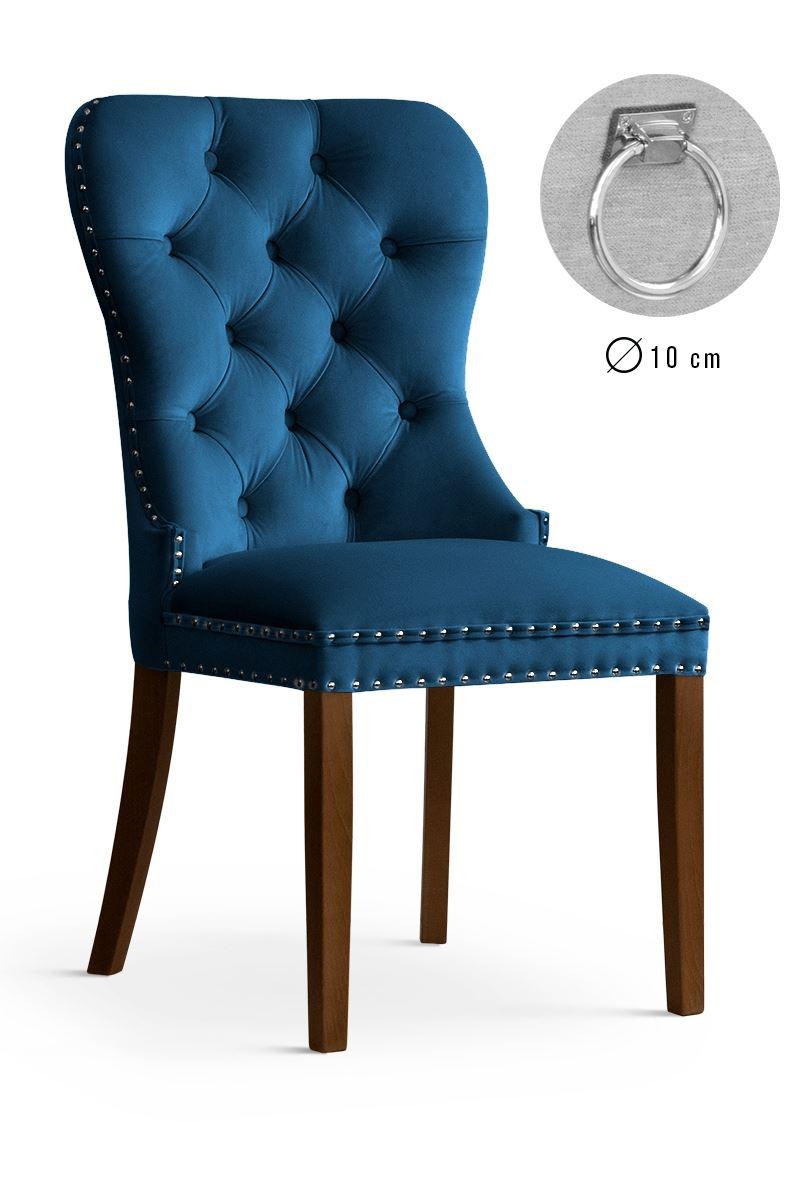 Scaun tapitat cu stofa si picioare din lemn Madame II Velvet Bleumarin / Nuc, l51xA63xH99 cm imagine