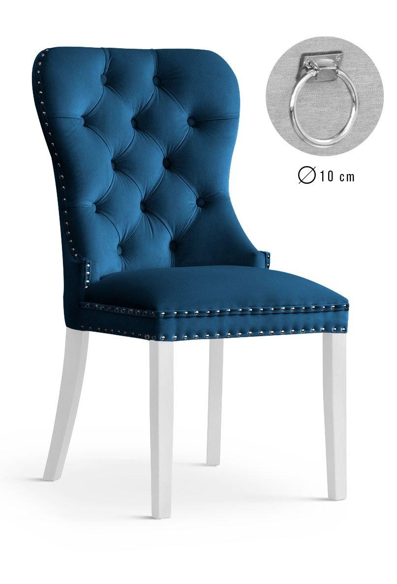 Scaun tapitat cu stofa, cu picioare din lemn Madame II Navy Blue / White, l51xA63xH99 cm