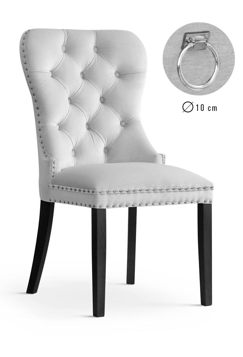 Scaun tapitat cu stofa, cu picioare din lemn Madame II Silver / Black, l51xA63xH99 cm
