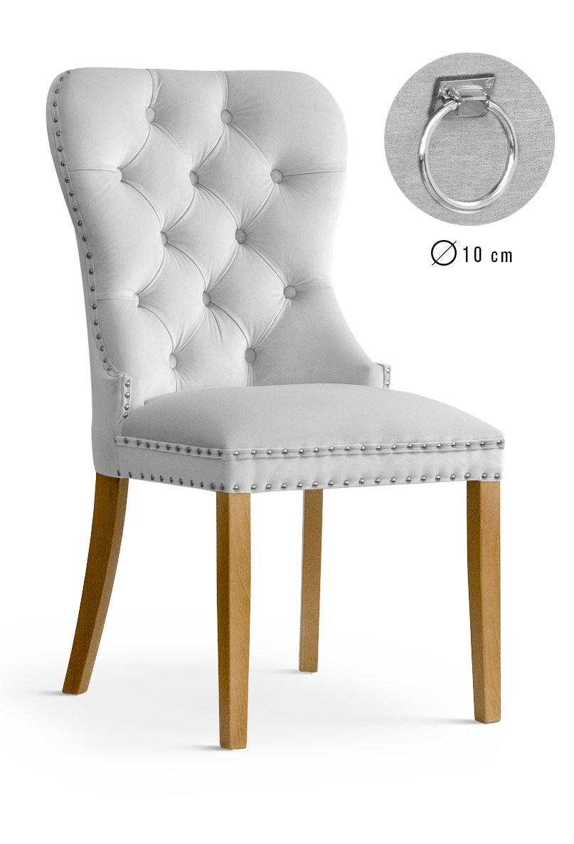 Scaun tapitat cu stofa, cu picioare din lemn Madame II Silver / Oak, l51xA63xH99 cm