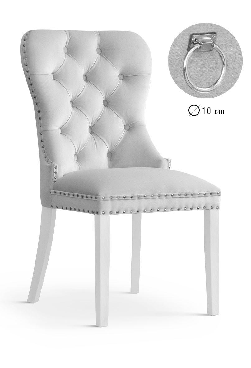 Scaun tapitat cu stofa si picioare din lemn Madame II Velvet Argintiu / Alb, l51xA63xH99 cm poza