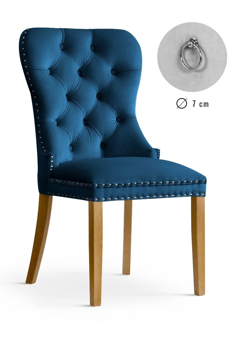 Scaun tapitat cu stofa, cu picioare din lemn Madame Navy Blue / Oak, l51xA63xH99 cm