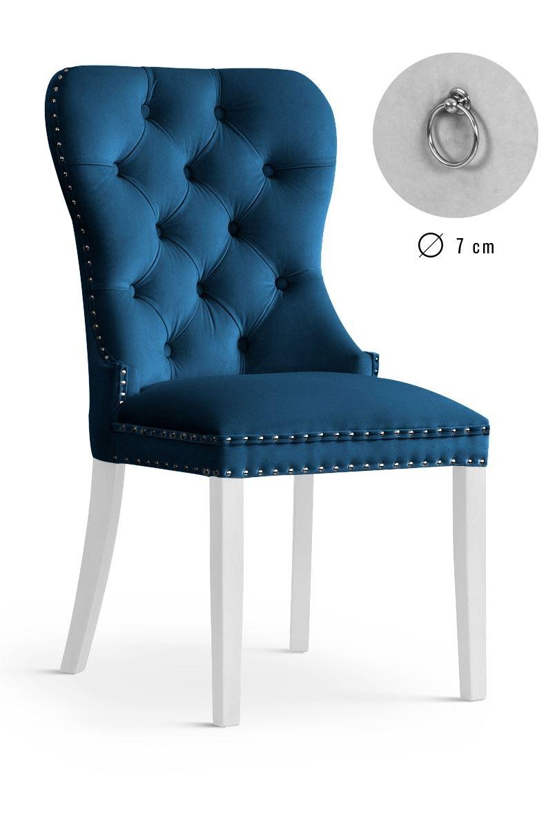 Scaun tapitat cu stofa, cu picioare din lemn Madame Navy Blue / White, l51xA63xH99 cm
