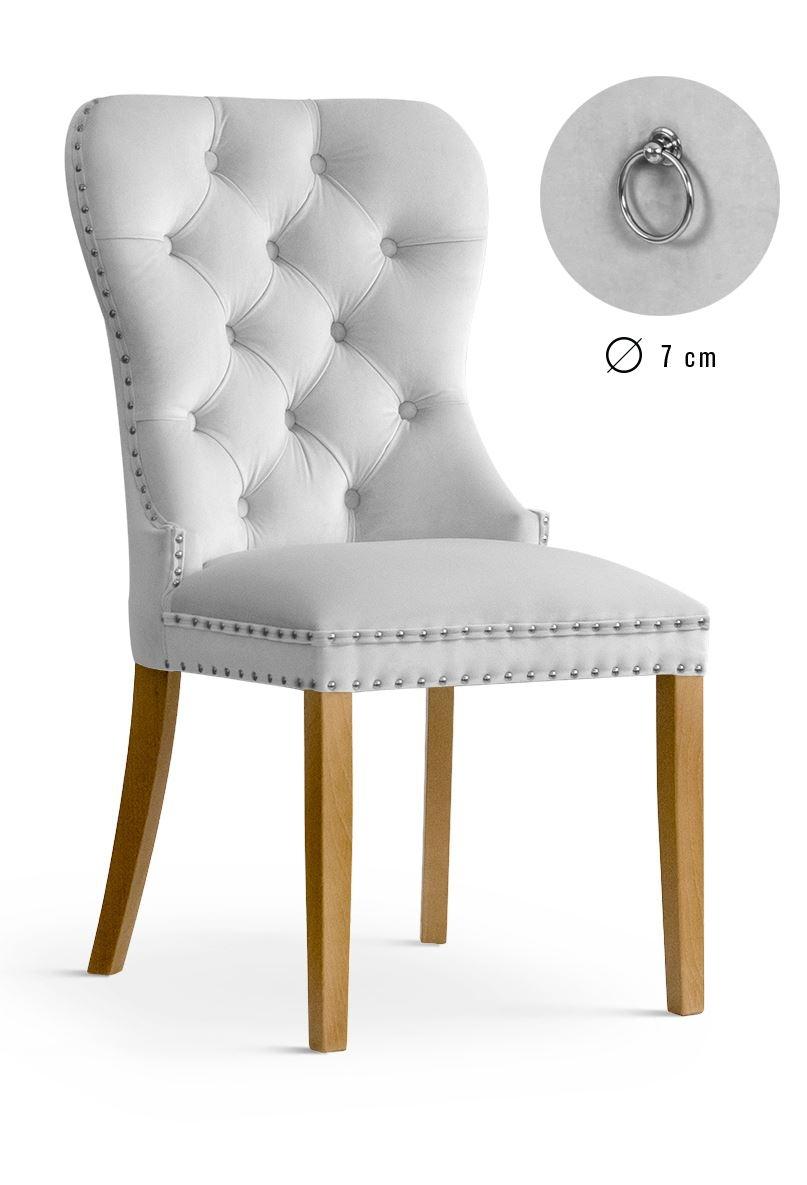 Scaun tapitat cu stofa, cu picioare din lemn Madame Silver / Oak, l51xA63xH99 cm