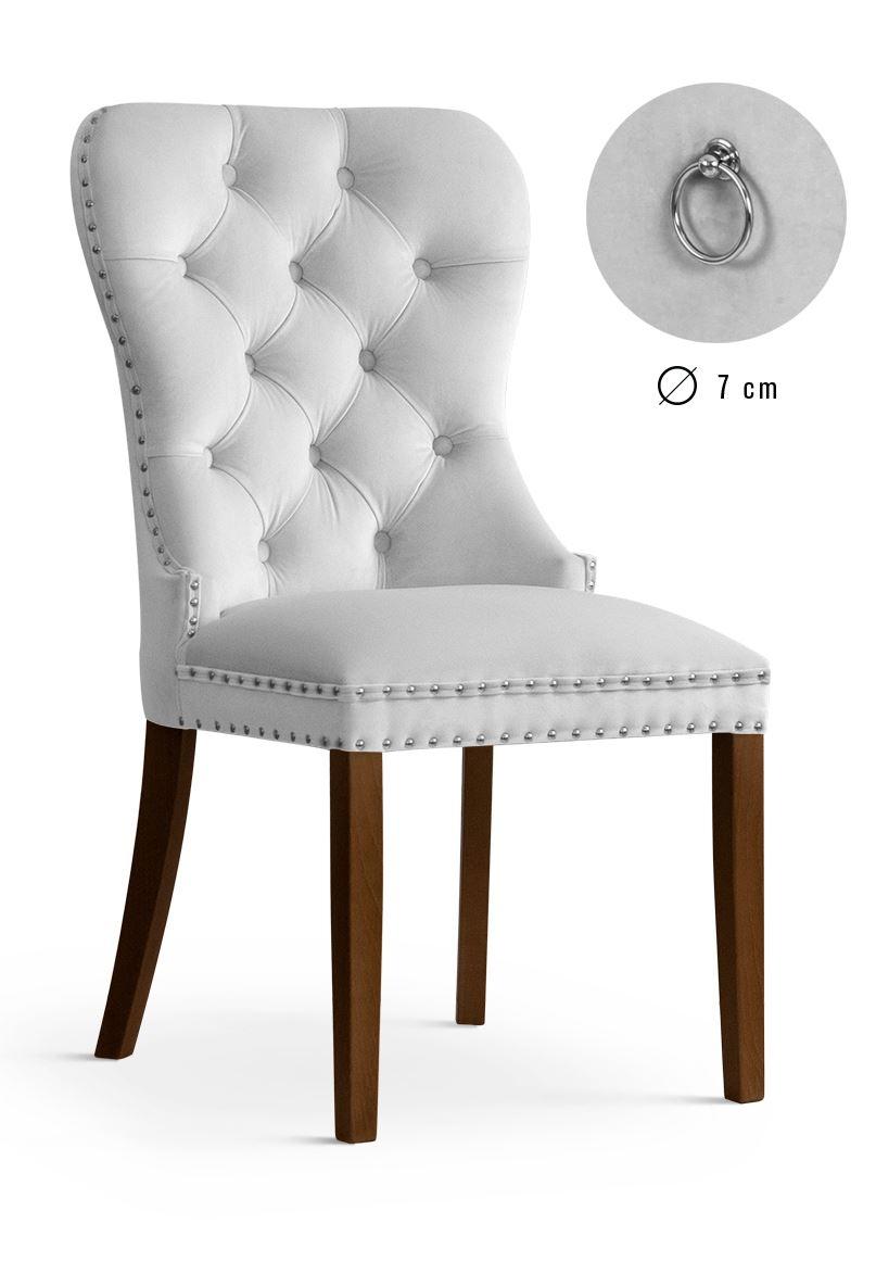 Scaun tapitat cu stofa, cu picioare din lemn Madame Silver / Walnut, l51xA63xH99 cm