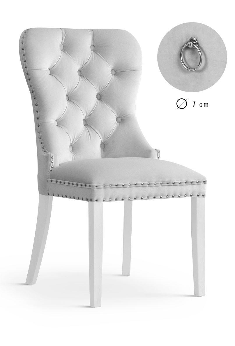 Scaun tapitat cu stofa, cu picioare din lemn Madame Silver / White, l51xA63xH99 cm