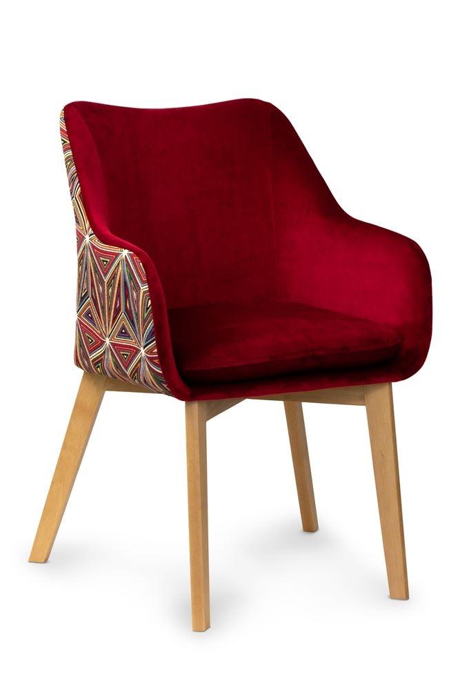 Scaun tapitat cu stofa, cu picioare din lemn Malawi Dark Red / Beech, l56xA62xH84 cm