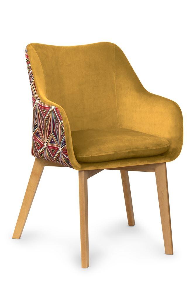 Scaun tapitat cu stofa, cu picioare din lemn Malawi Honey / Beech, l56xA62xH84 cm