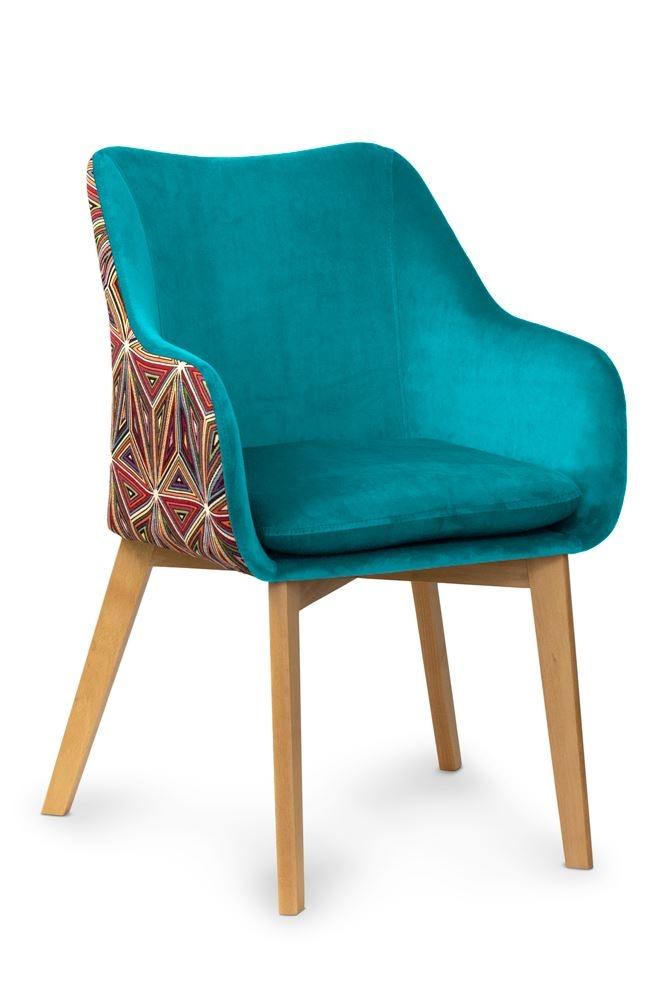 Scaun tapitat cu stofa cu picioare din lemn Malawi Turquoise / Beech l56xA62xH84 cm