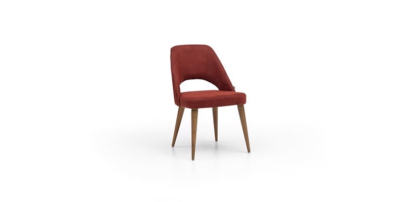 Scaun tapitat cu stofa, cu picioare din lemn Montana Bordeaux, l52xA48xH85 cm