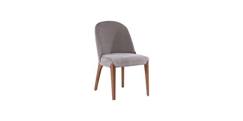 Scaun tapitat cu stofa, cu picioare din lemn Noble Velvet Gri / Nuc, l48xA51xH82 cm imagine