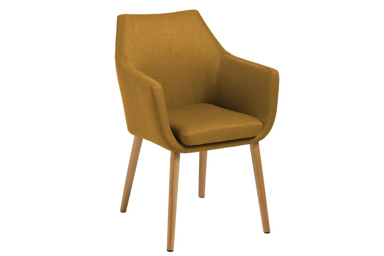 Scaun tapitat cu stofa si picioare din lemn Nora Curry / Stejar, l58xA58xH84 cm