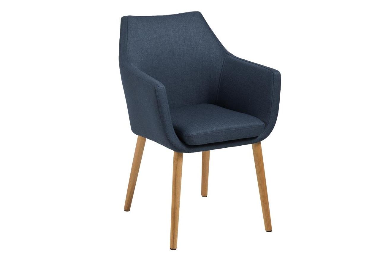 Scaun tapitat cu stofa si picioare din lemn Nora Albastru Inchis / Stejar, l58xA58xH84 cm imagine