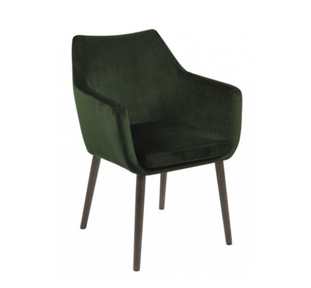Scaun tapitat cu stofa si picioare din lemn Nora Velvet Verde / Maro, l58xA58xH84 cm imagine