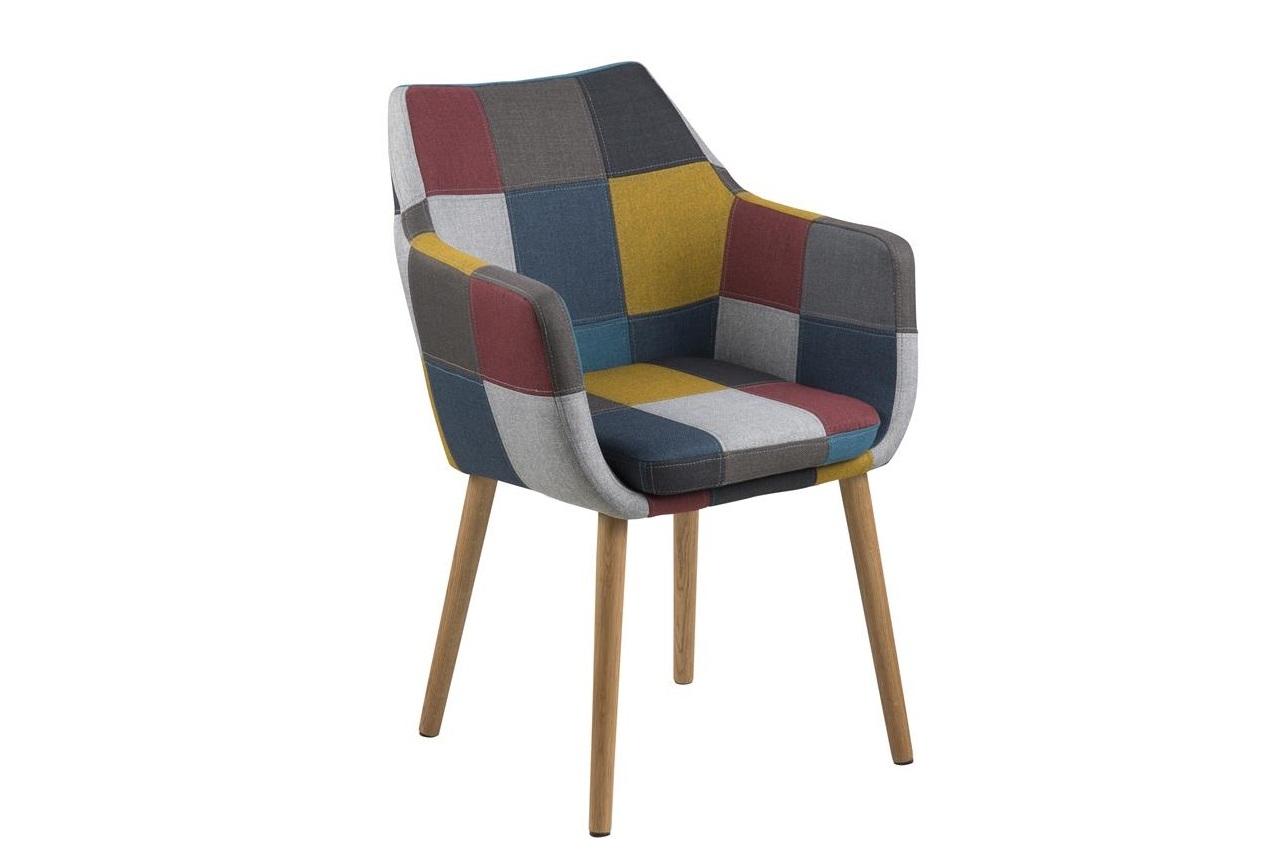 Scaun tapitat cu stofa si picioare din lemn Nora Multicolor / Stejar, l58xA58xH84 cm