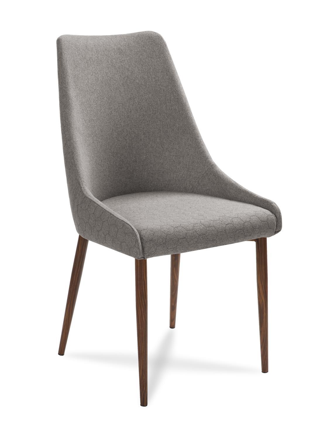 Scaun tapitat cu stofa, cu picioare din lemn Olivier Grey / Walnut, l48xA55xH99 cm