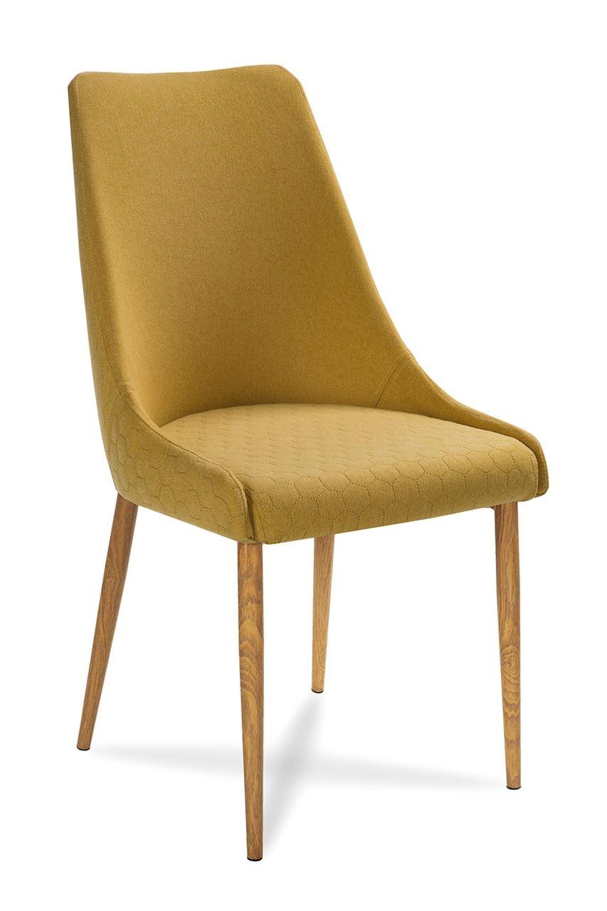 Scaun tapitat cu stofa, cu picioare din lemn Olivier Honey / Oak, l48xA55xH99 cm