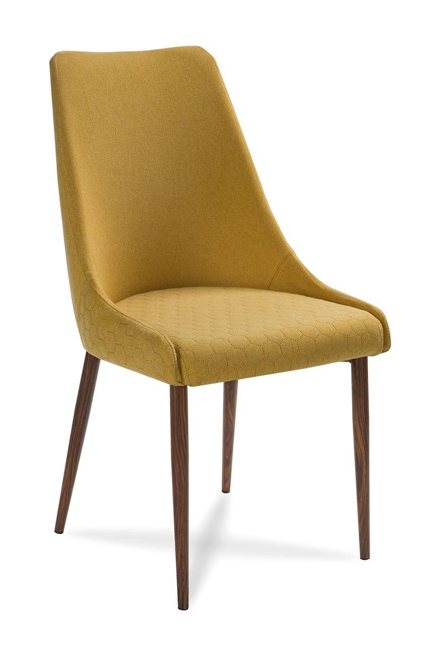 Scaun tapitat cu stofa, cu picioare din lemn Olivier Honey / Walnut, l48xA55xH99 cm