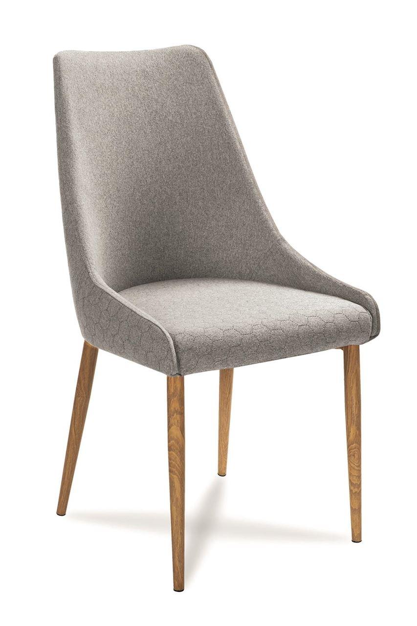 Scaun tapitat cu stofa cu picioare din lemn Olivier Light Grey / Oak l48xA55xH99 cm