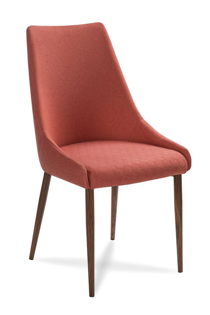 Scaun tapitat cu stofa, cu picioare din lemn Olivier Salmon / Walnut, l48xA55xH99 cm